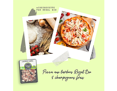 Recette : pizza aux lardons & champignons frais